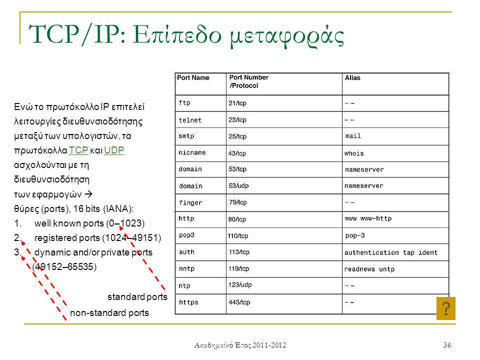 Ακαδημαϊκό Έτος 2011-2012 36 TCP/IP: Επίπεδο μεταφοράς Ενώ το πρωτόκολλο IP επιτελεί λειτουργίες διευθυνσιοδότησης μεταξύ των υπολογιστών, τα πρωτόκολλα ΤCP και UDP ασχολούνται με τη διευθυνσιοδότηση των εφαρμογών  θύρες (ports), 16 bits (IANA): 1.