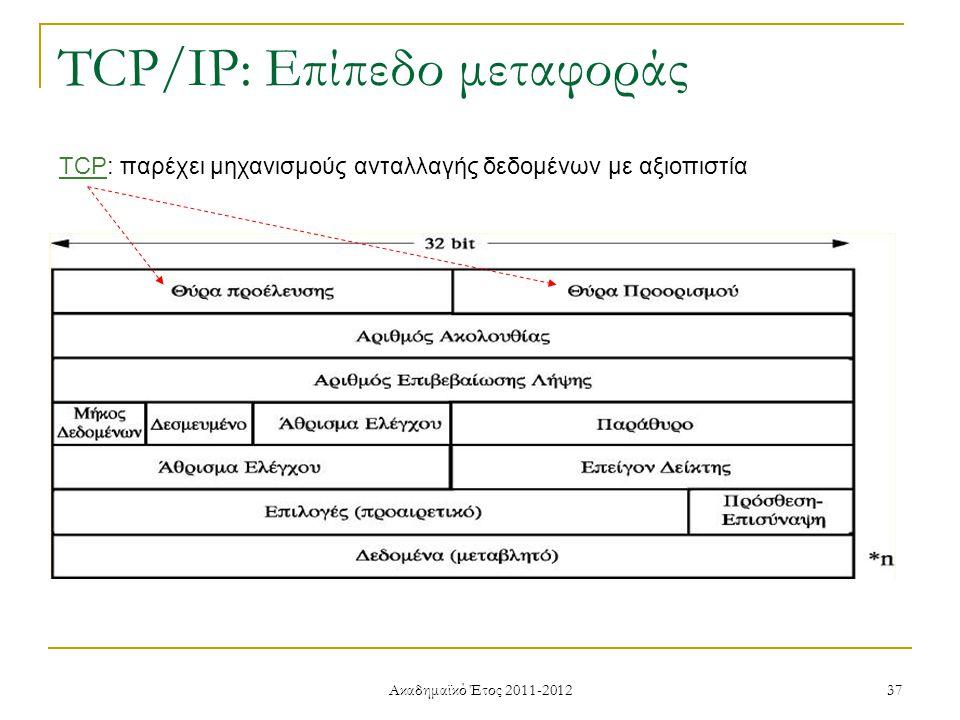 Ακαδημαϊκό Έτος 2011-2012 37 TCP/IP: Επίπεδο μεταφοράς TCP: παρέχει μηχανισμούς ανταλλαγής δεδομένων με αξιοπιστία