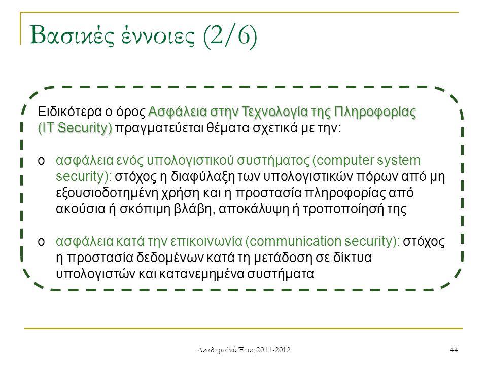 Ακαδημαϊκό Έτος 2011-2012 44 Βασικές έννοιες (2/6) Ασφάλεια στην Τεχνολογία της Πληροφορίας Ειδικότερα ο όρος Ασφάλεια στην Τεχνολογία της Πληροφορίας (IT Security) (IT Security) πραγματεύεται θέματα σχετικά με την: oασφάλεια ενός υπολογιστικού συστήματος (computer system security): στόχος η διαφύλαξη των υπολογιστικών πόρων από μη εξουσιοδοτημένη χρήση και η προστασία πληροφορίας από ακούσια ή σκόπιμη βλάβη, αποκάλυψη ή τροποποίησή της oασφάλεια κατά την επικοινωνία (communication security): στόχος η προστασία δεδομένων κατά τη μετάδοση σε δίκτυα υπολογιστών και κατανεμημένα συστήματα