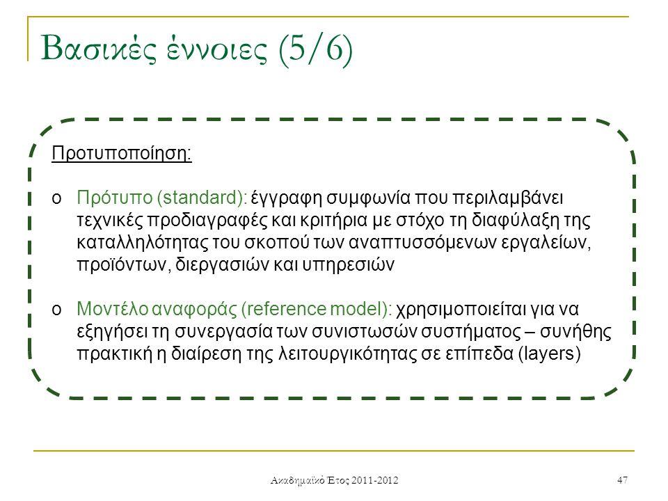 Ακαδημαϊκό Έτος 2011-2012 47 Βασικές έννοιες (5/6) Προτυποποίηση: oΠρότυπο (standard): έγγραφη συμφωνία που περιλαμβάνει τεχνικές προδιαγραφές και κριτήρια με στόχο τη διαφύλαξη της καταλληλότητας του σκοπού των αναπτυσσόμενων εργαλείων, προϊόντων, διεργασιών και υπηρεσιών oΜοντέλο αναφοράς (reference model): χρησιμοποιείται για να εξηγήσει τη συνεργασία των συνιστωσών συστήματος – συνήθης πρακτική η διαίρεση της λειτουργικότητας σε επίπεδα (layers)