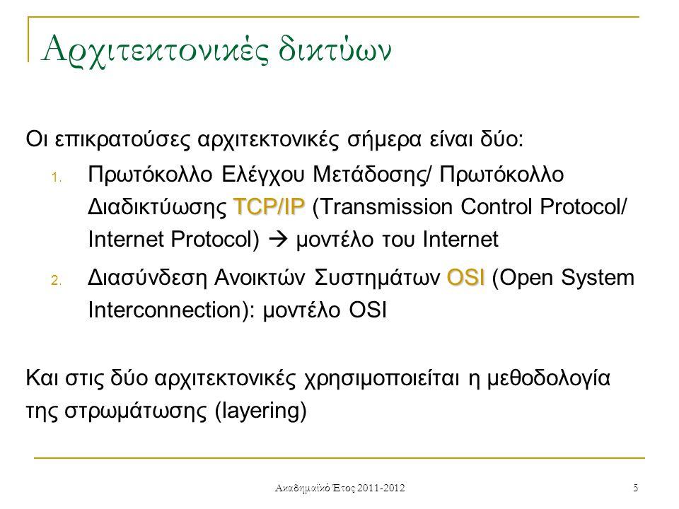 Ακαδημαϊκό Έτος 2011-2012 5 Οι επικρατούσες αρχιτεκτονικές σήμερα είναι δύο: TCP/IP 1.