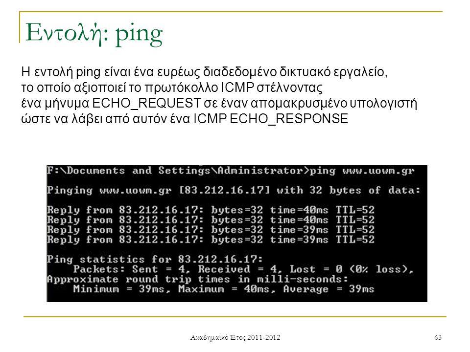 Ακαδημαϊκό Έτος 2011-2012 63 Εντολή: ping Η εντολή ping είναι ένα ευρέως διαδεδομένο δικτυακό εργαλείο, το οποίο αξιοποιεί το πρωτόκολλο ICMP στέλνοντας ένα μήνυμα ECHO_REQUEST σε έναν απομακρυσμένο υπολογιστή ώστε να λάβει από αυτόν ένα ICMP ECHO_RESPONSE