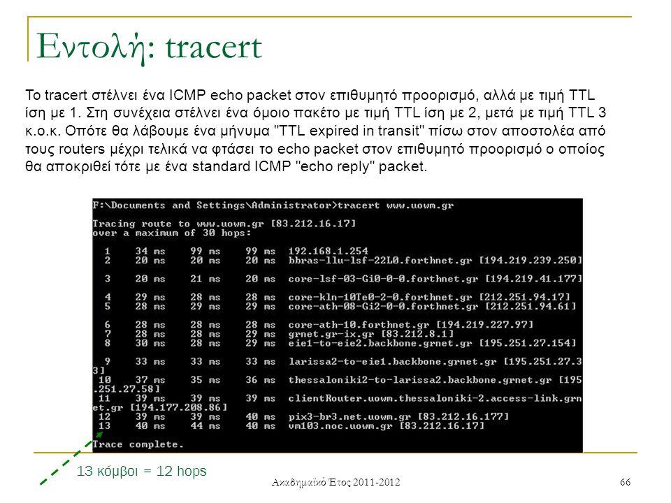 Ακαδημαϊκό Έτος 2011-2012 66 Το tracert στέλνει ένα ICMP echo packet στον επιθυμητό προορισμό, αλλά με τιμή TTL ίση με 1.