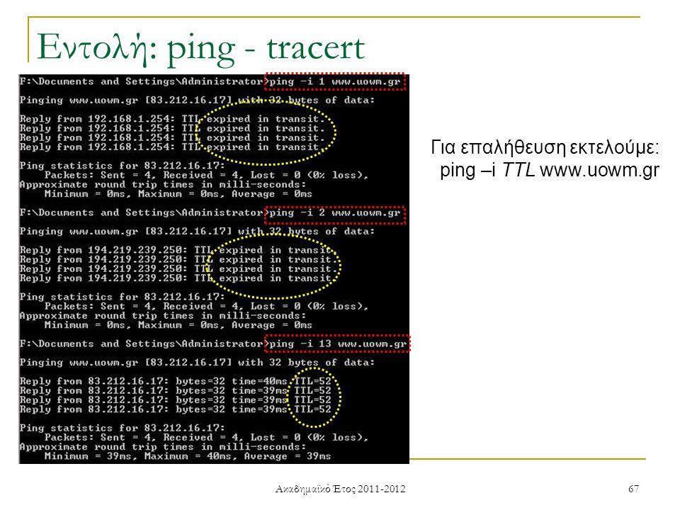 Ακαδημαϊκό Έτος 2011-2012 67 Για επαλήθευση εκτελούμε: ping –i TTL www.uowm.gr Εντολή: ping - tracert