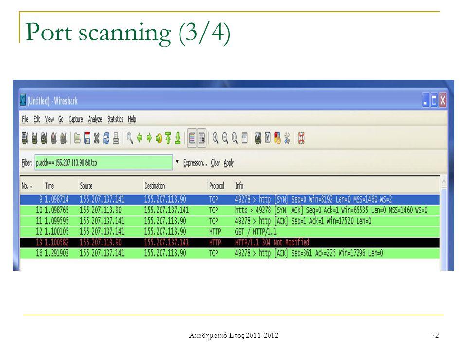 Ακαδημαϊκό Έτος 2011-2012 72 Port scanning (3/4)