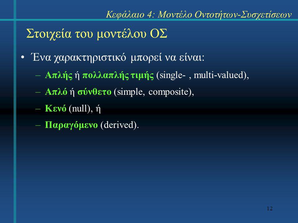 12 Στοιχεία του μοντέλου ΟΣ Ένα χαρακτηριστικό μπορεί να είναι: –Απλής ή πολλαπλής τιμής (single-, multi-valued), –Απλό ή σύνθετο (simple, composite),