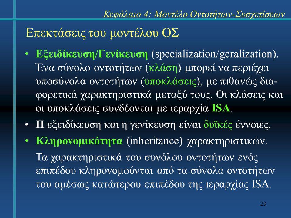 29 Επεκτάσεις του μοντέλου ΟΣ Εξειδίκευση/Γενίκευση (specialization/geralization). Ένα σύνολο οντοτήτων (κλάση) μπορεί να περιέχει υποσύνολα οντοτήτων