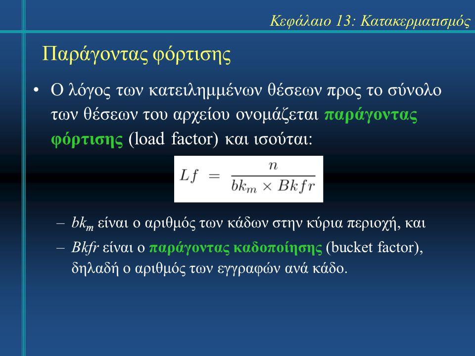 Κεφάλαιο 13: Κατακερματισμός Παράγοντας φόρτισης Ο λόγος των κατειλημμένων θέσεων προς το σύνολο των θέσεων του αρχείου ονομάζεται παράγοντας φόρτισης (load factor) και ισούται: –bk m είναι ο αριθμός των κάδων στην κύρια περιοχή, και –Bkfr είναι ο παράγοντας καδοποίησης (bucket factor), δηλαδή ο αριθμός των εγγραφών ανά κάδο.