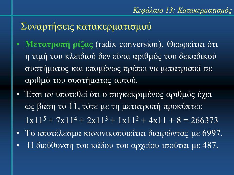 Κεφάλαιο 13: Κατακερματισμός Συναρτήσεις κατακερματισμού Μετατροπή ρίζας (radix conversion). Θεωρείται ότι η τιμή του κλειδιού δεν είναι αριθμός του δ