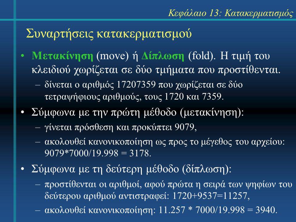Κεφάλαιο 13: Κατακερματισμός Συναρτήσεις κατακερματισμού Μετακίνηση (move) ή Δίπλωση (fold). Η τιμή του κλειδιού χωρίζεται σε δύο τμήματα που προστίθε