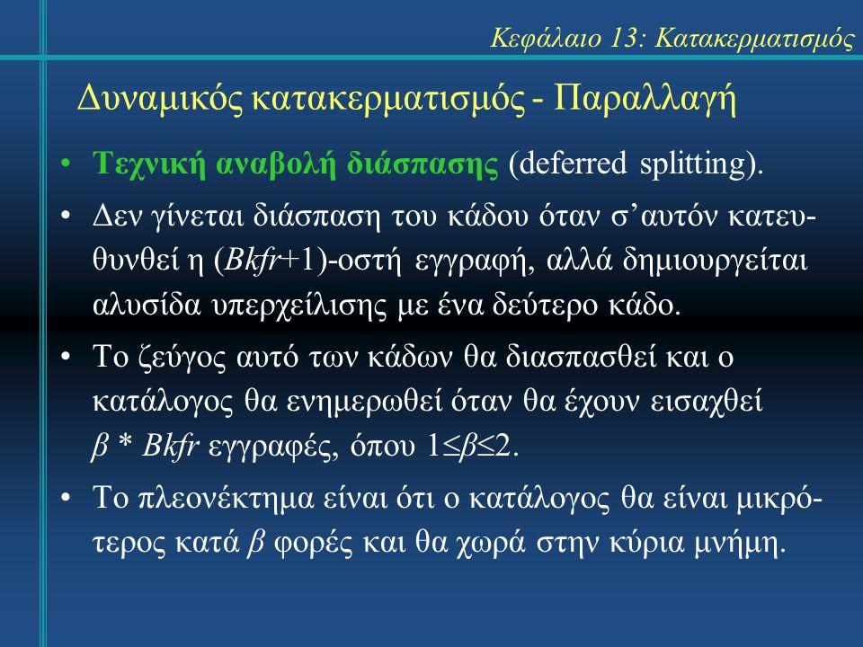 Κεφάλαιο 13: Κατακερματισμός Δυναμικός κατακερματισμός - Παραλλαγή Τεχνική αναβολή διάσπασης (deferred splitting). Δεν γίνεται διάσπαση του κάδου όταν