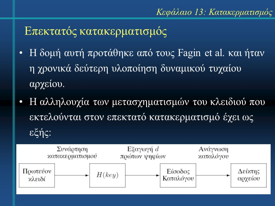 Κεφάλαιο 13: Κατακερματισμός Επεκτατός κατακερματισμός H δομή αυτή προτάθηκε από τους Fagin et al. και ήταν η χρονικά δεύτερη υλοποίηση δυναμικού τυχα