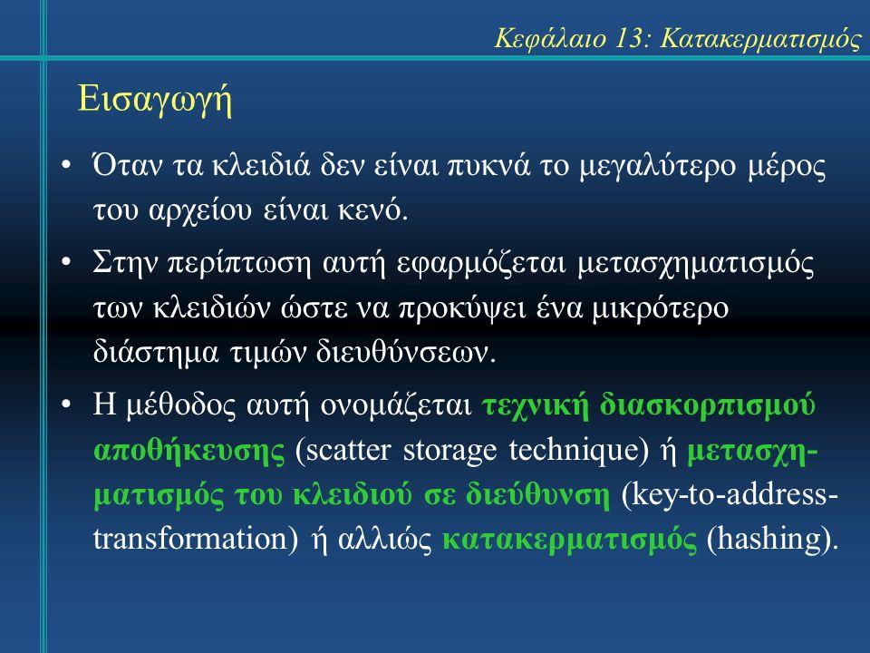 Κεφάλαιο 13: Κατακερματισμός Εισαγωγή Όταν τα κλειδιά δεν είναι πυκνά το μεγαλύτερο μέρος του αρχείου είναι κενό.