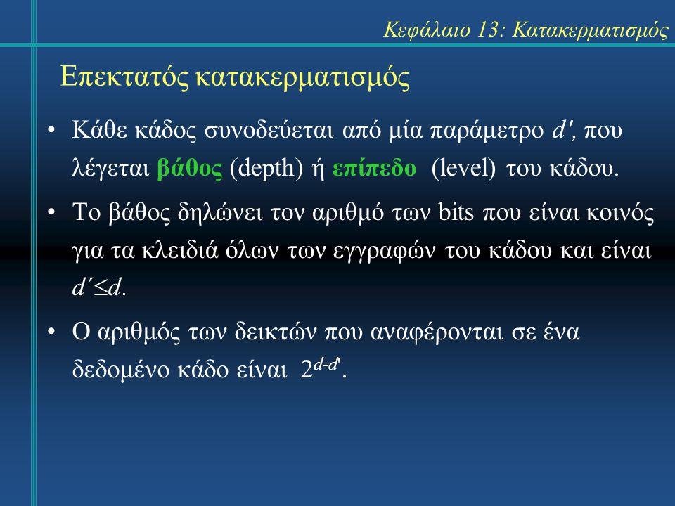 Κεφάλαιο 13: Κατακερματισμός Επεκτατός κατακερματισμός Κάθε κάδος συνοδεύεται από μία παράμετρο d , που λέγεται βάθος (depth) ή επίπεδο (level) του κάδου.