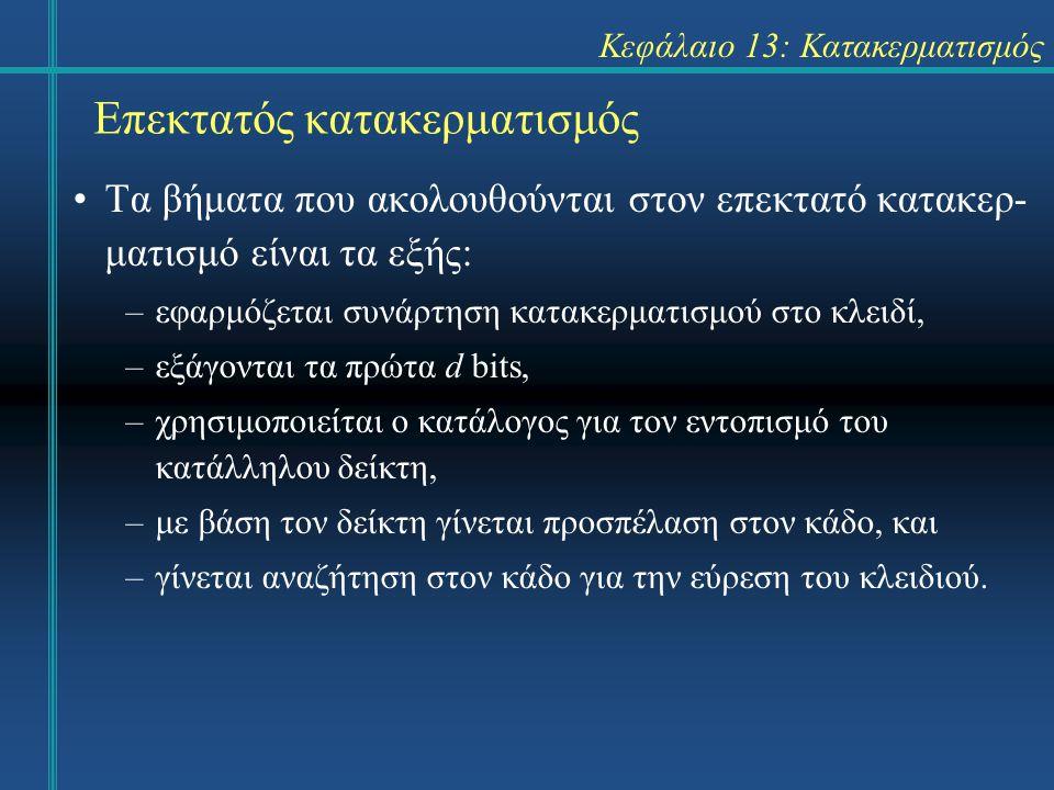 Κεφάλαιο 13: Κατακερματισμός Επεκτατός κατακερματισμός Τα βήματα που ακολουθούνται στον επεκτατό κατακερ- ματισμό είναι τα εξής: –εφαρμόζεται συνάρτηση κατακερματισμού στο κλειδί, –εξάγονται τα πρώτα d bits, –χρησιμοποιείται ο κατάλογος για τον εντοπισμό του κατάλληλου δείκτη, –με βάση τον δείκτη γίνεται προσπέλαση στον κάδο, και –γίνεται αναζήτηση στον κάδο για την εύρεση του κλειδιού.
