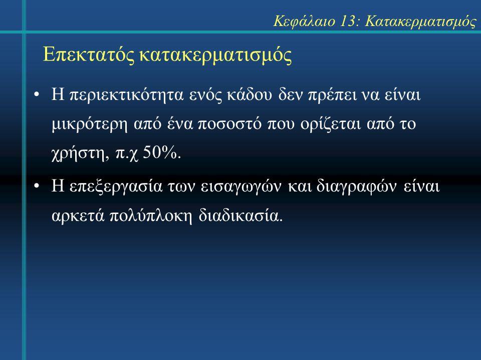 Κεφάλαιο 13: Κατακερματισμός Επεκτατός κατακερματισμός Η περιεκτικότητα ενός κάδου δεν πρέπει να είναι μικρότερη από ένα ποσοστό που ορίζεται από το χ