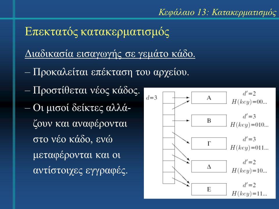 Κεφάλαιο 13: Κατακερματισμός Επεκτατός κατακερματισμός Διαδικασία εισαγωγής σε γεμάτο κάδο. –Προκαλείται επέκταση του αρχείου. –Προστίθεται νέος κάδος