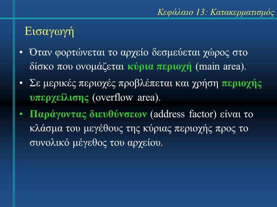 Κεφάλαιο 13: Κατακερματισμός Εισαγωγή Όταν φορτώνεται το αρχείο δεσμεύεται χώρος στο δίσκο που ονομάζεται κύρια περιοχή (main area). Σε μερικές περιοχ