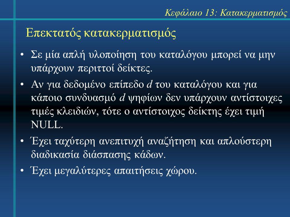 Κεφάλαιο 13: Κατακερματισμός Επεκτατός κατακερματισμός Σε μία απλή υλοποίηση του καταλόγου μπορεί να μην υπάρχουν περιττοί δείκτες. Αν για δεδομένο επ