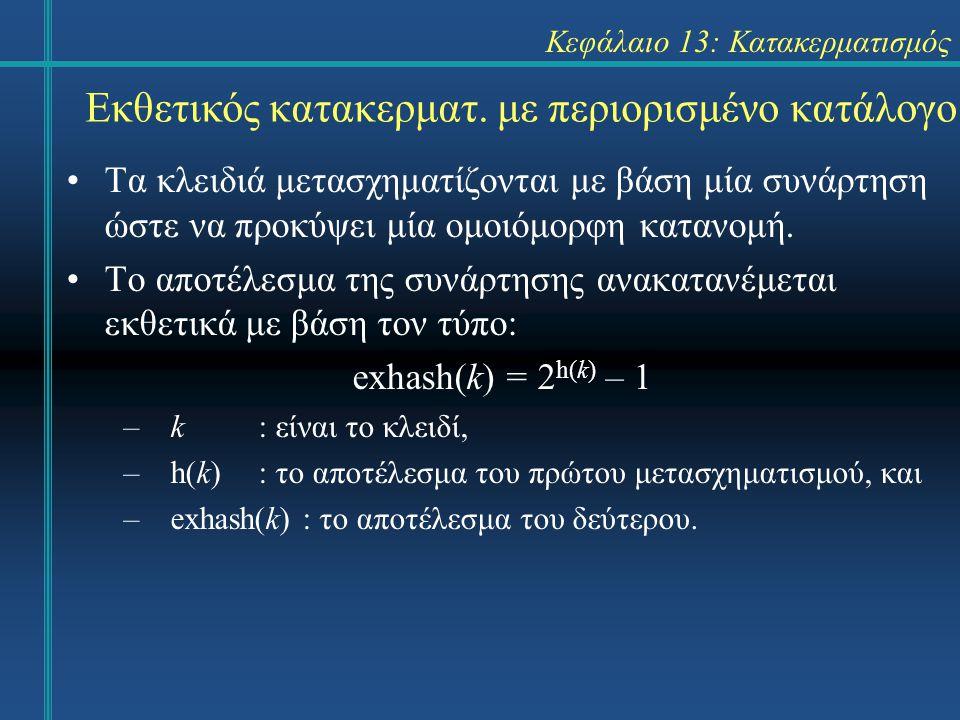 Κεφάλαιο 13: Κατακερματισμός Τα κλειδιά μετασχηματίζονται με βάση μία συνάρτηση ώστε να προκύψει μία ομοιόμορφη κατανομή. Το αποτέλεσμα της συνάρτησης