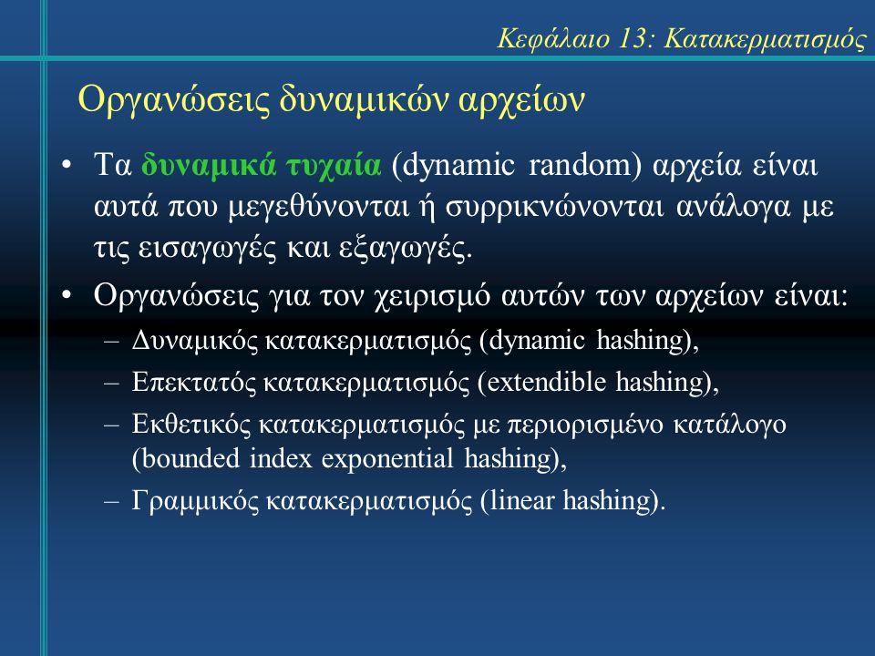 Κεφάλαιο 13: Κατακερματισμός Οργανώσεις δυναμικών αρχείων Τα δυναμικά τυχαία (dynamic random) αρχεία είναι αυτά που μεγεθύνονται ή συρρικνώνονται ανάλ