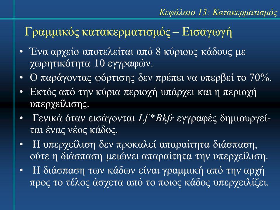 Κεφάλαιο 13: Κατακερματισμός Γραμμικός κατακερματισμός – Εισαγωγή Ένα αρχείο αποτελείται από 8 κύριους κάδους με χωρητικότητα 10 εγγραφών. Ο παράγοντα