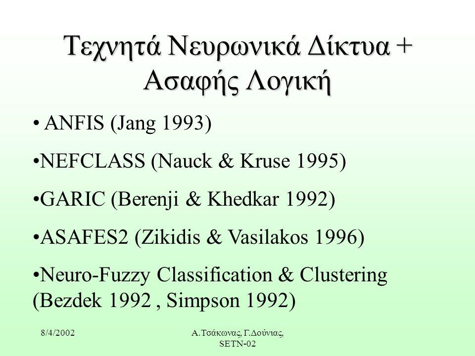 8/4/2002Α.Τσάκωνας, Γ.Δούνιας, SETN-02 Τεχνητά Νευρωνικά Δίκτυα + Ασαφής Λογική ANFIS (Jang 1993) NEFCLASS (Nauck & Kruse 1995) GARIC (Berenji & Khedkar 1992) ASAFES2 (Zikidis & Vasilakos 1996) Neuro-Fuzzy Classification & Clustering (Bezdek 1992, Simpson 1992)