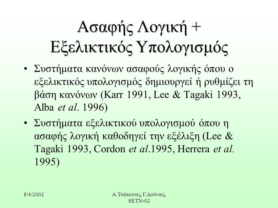 8/4/2002Α.Τσάκωνας, Γ.Δούνιας, SETN-02 Ασαφής Λογική + Εξελικτικός Υπολογισμός Συστήματα κανόνων ασαφούς λογικής όπου ο εξελικτικός υπολογισμός δημιουργεί ή ρυθμίζει τη βάση κανόνων (Karr 1991, Lee & Tagaki 1993, Alba et al.