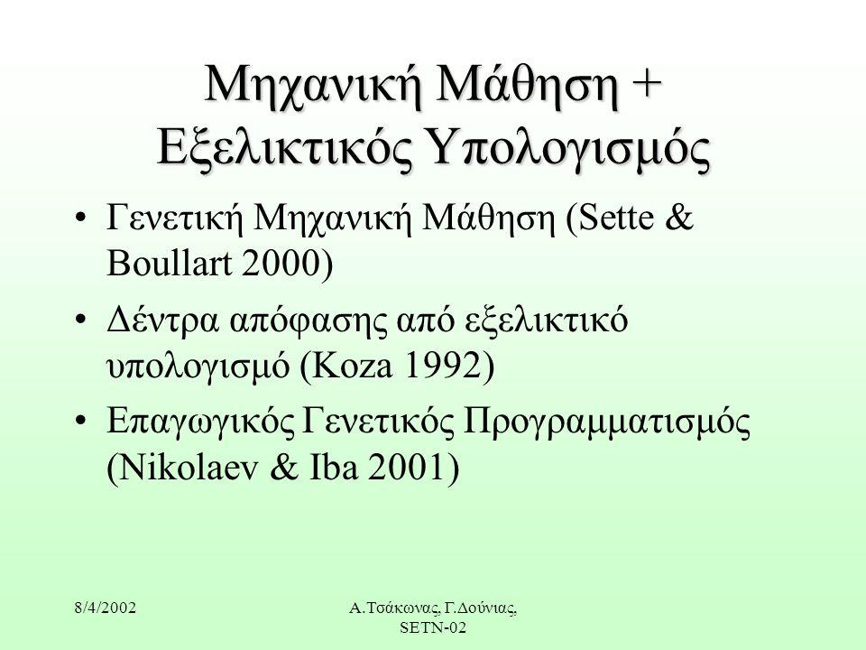 8/4/2002Α.Τσάκωνας, Γ.Δούνιας, SETN-02 Μηχανική Μάθηση + Εξελικτικός Υπολογισμός Γενετική Mηχανική Μάθηση (Sette & Boullart 2000) Δέντρα απόφασης από εξελικτικό υπολογισμό (Koza 1992) Eπαγωγικός Γενετικός Προγραμματισμός (Nikolaev & Iba 2001)