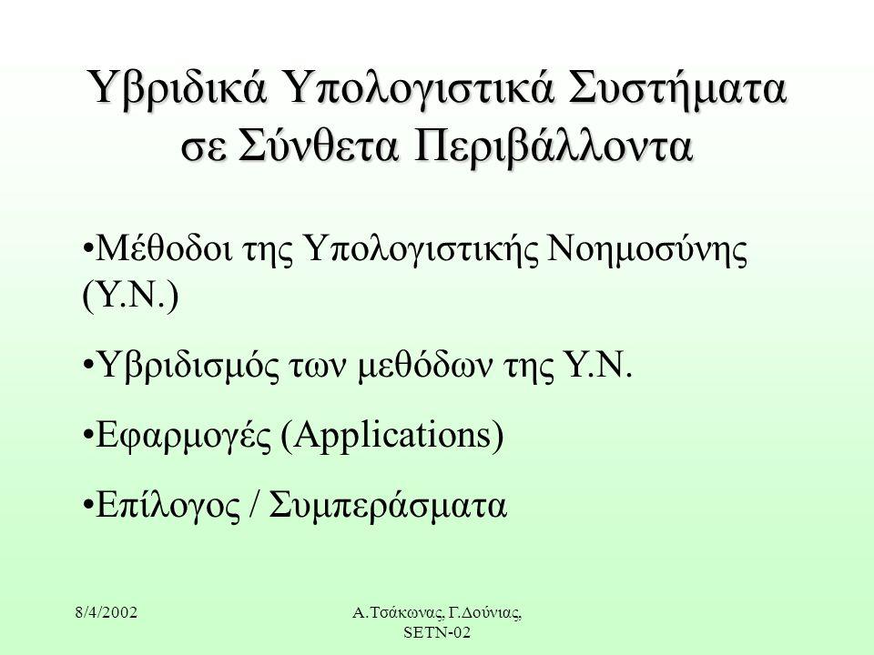 8/4/2002Α.Τσάκωνας, Γ.Δούνιας, SETN-02 Υβριδικά Υπολογιστικά Συστήματα σε Σύνθετα Περιβάλλοντα Μέθοδοι της Υπολογιστικής Νοημοσύνης (Υ.Ν.) Υβριδισμός των μεθόδων της Υ.Ν.