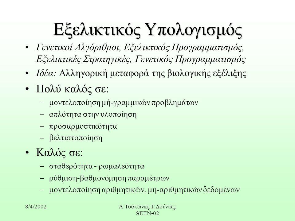 8/4/2002Α.Τσάκωνας, Γ.Δούνιας, SETN-02 Εξελικτικός Υπολογισμός Γενετικοί Αλγόριθμοι, Εξελικτικός Προγραμματισμός, Εξελικτικές Στρατηγικές, Γενετικός Προγραμματισμός Ιδέα: Αλληγορική μεταφορά της βιολογικής εξέλιξης Πολύ καλός σε: –μοντελοποίηση μή-γραμμικών προβλημάτων –απλότητα στην υλοποίηση –προσαρμοστικότητα –βελτιστοποίηση Καλός σε: –σταθερότητα - ρωμαλεότητα –ρύθμιση-βαθμονόμηση παραμέτρων –μοντελοποίηση αριθμητικών, μη-αριθμητικών δεδομένων