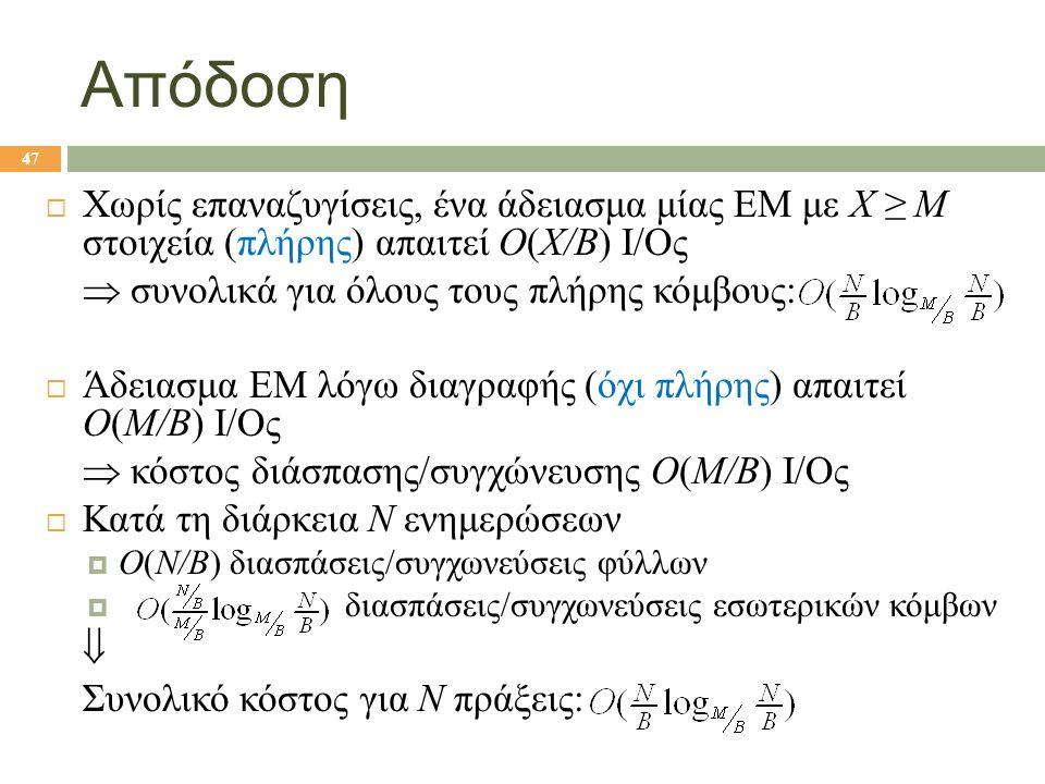 Απόδοση  Χωρίς επαναζυγίσεις, ένα άδειασμα μίας ΕΜ με X ≥ M στοιχεία (πλήρης) απαιτεί O(X/B) I/Oς  συνολικά για όλους τους πλήρης κόμβους:  Άδειασμα ΕΜ λόγω διαγραφής (όχι πλήρης) απαιτεί O(M/B) I/Oς  κόστος διάσπασης/συγχώνευσης O(M/B) I/Oς  Κατά τη διάρκεια N ενημερώσεων  O(N/B) διασπάσεις/συγχωνεύσεις φύλλων  διασπάσεις/συγχωνεύσεις εσωτερικών κόμβων  Συνολικό κόστος για N πράξεις: 47