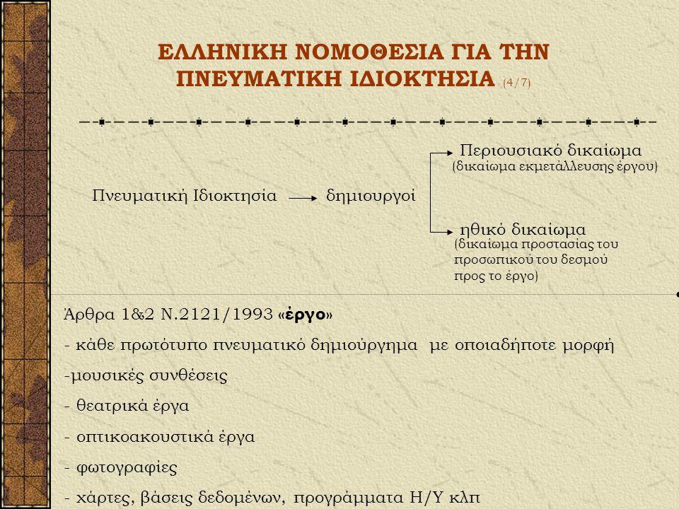 ΕΛΛΗΝΙΚΗ ΝΟΜΟΘΕΣΙΑ ΓΙΑ ΤΗΝ ΠΝΕΥΜΑΤΙΚΗ ΙΔΙΟΚΤΗΣΙΑ (3/7) Επίσης: - Διεθνής Σύμβαση Βέρνης - Διεθνής Σύμβαση Ρώμης (1961) - Συμφωνία Γενεύης (1971) - Συμ