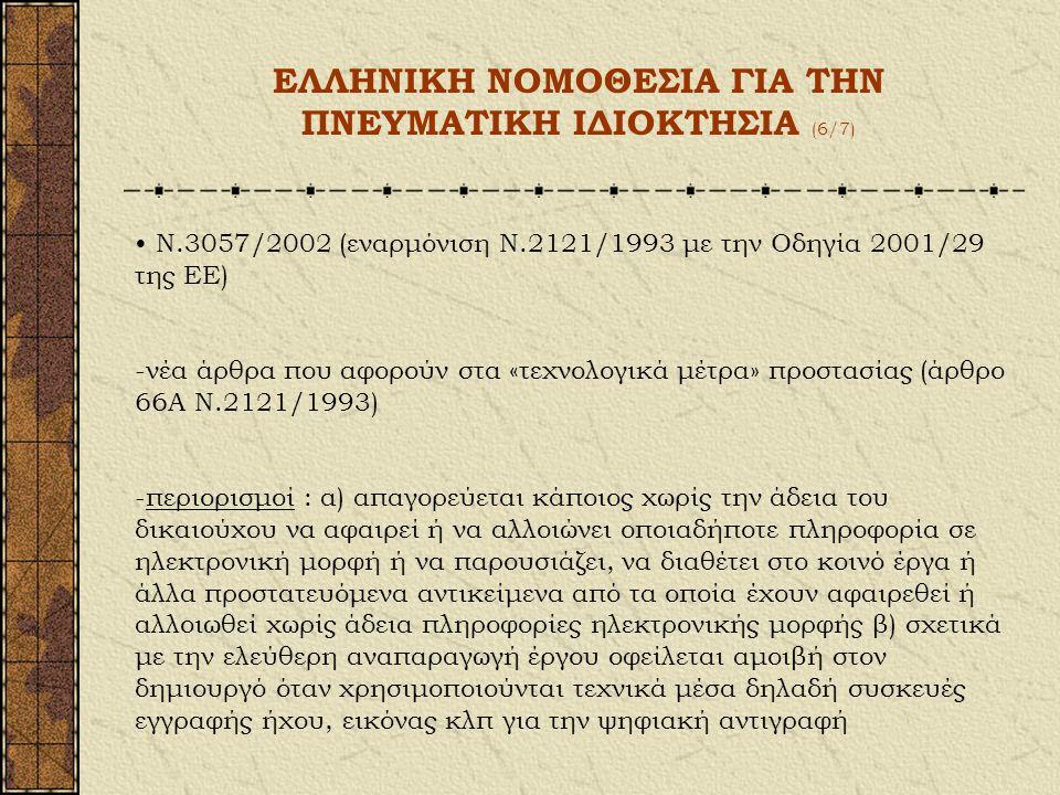 ΕΛΛΗΝΙΚΗ ΝΟΜΟΘΕΣΙΑ ΓΙΑ ΤΗΝ ΠΝΕΥΜΑΤΙΚΗ ΙΔΙΟΚΤΗΣΙΑ (5/7) Περιουσιακό δικαίωμα περιορισμοί Ν.2121/1993 Άρθρο 18 Αναπαραγωγή για ιδιωτική χρήση : τα άρθρα