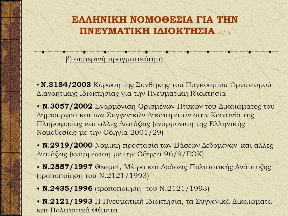 ΕΛΛΗΝΙΚΗ ΝΟΜΟΘΕΣΙΑ ΓΙΑ ΤΗΝ ΠΝΕΥΜΑΤΙΚΗ ΙΔΙΟΚΤΗΣΙΑ (1/7) α) Ιστορική εξέλιξη Τουρκοκρατία Μετά την απελευθέρωση: υπόθεση «σφετερισμού» χειρογράφων Διονυ