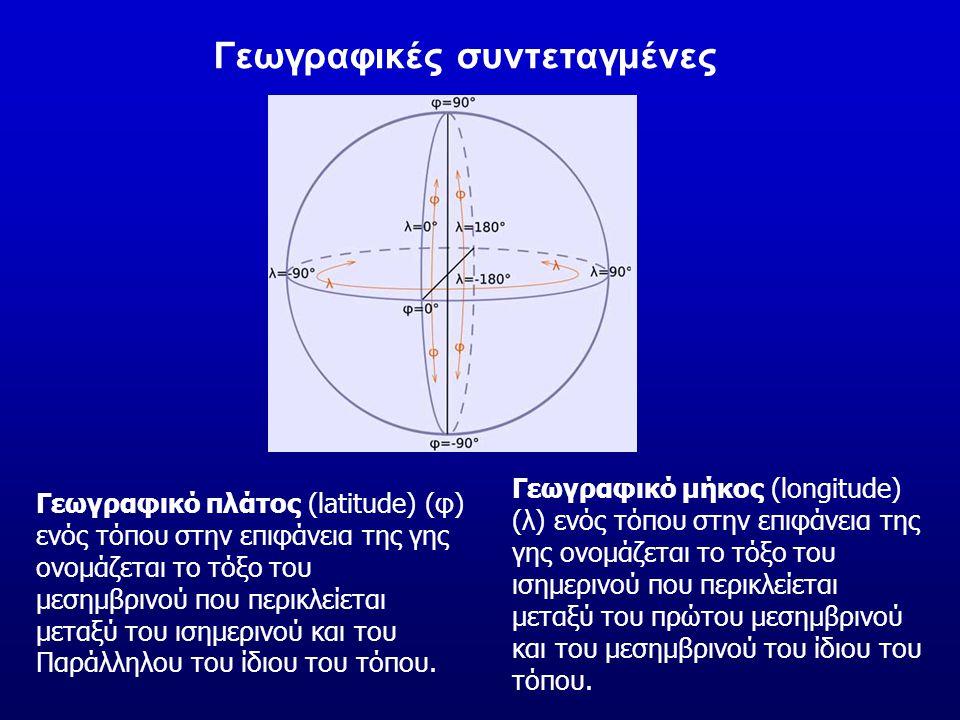 Γεωγραφικό πλάτος (latitude) (φ) ενός τόπου στην επιφάνεια της γης ονομάζεται το τόξο του μεσημβρινού που περικλείεται μεταξύ του ισημερινού και του Π