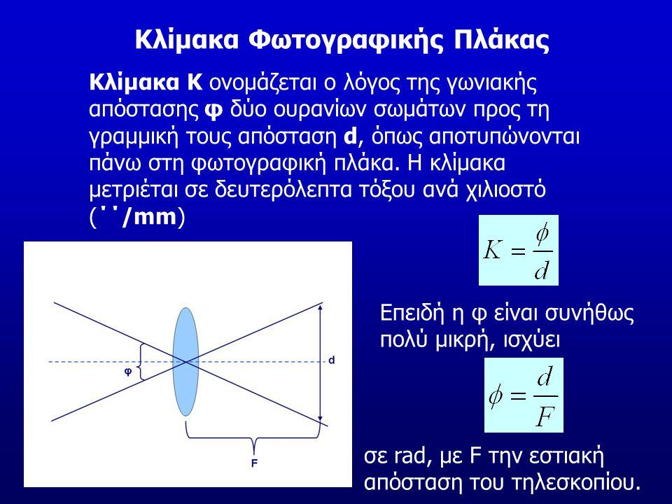 Κλίμακα Φωτογραφικής Πλάκας Κλίμακα Κ ονομάζεται ο λόγος της γωνιακής απόστασης φ δύο ουρανίων σωμάτων προς τη γραμμική τους απόσταση d, όπως αποτυπών