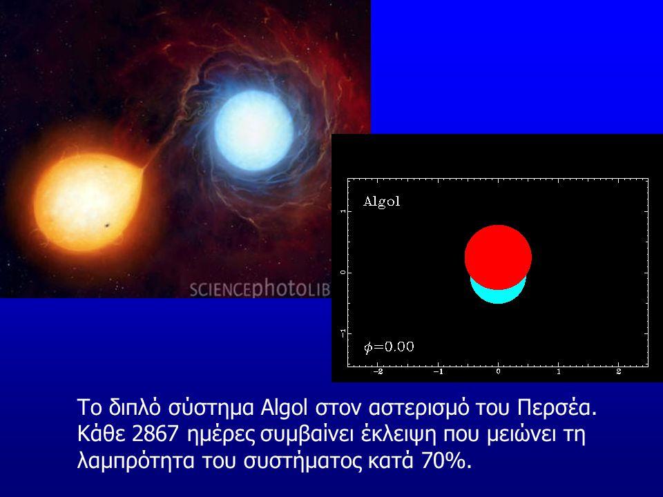 Το διπλό σύστημα Algol στον αστερισμό του Περσέα. Κάθε 2867 ημέρες συμβαίνει έκλειψη που μειώνει τη λαμπρότητα του συστήματος κατά 70%.