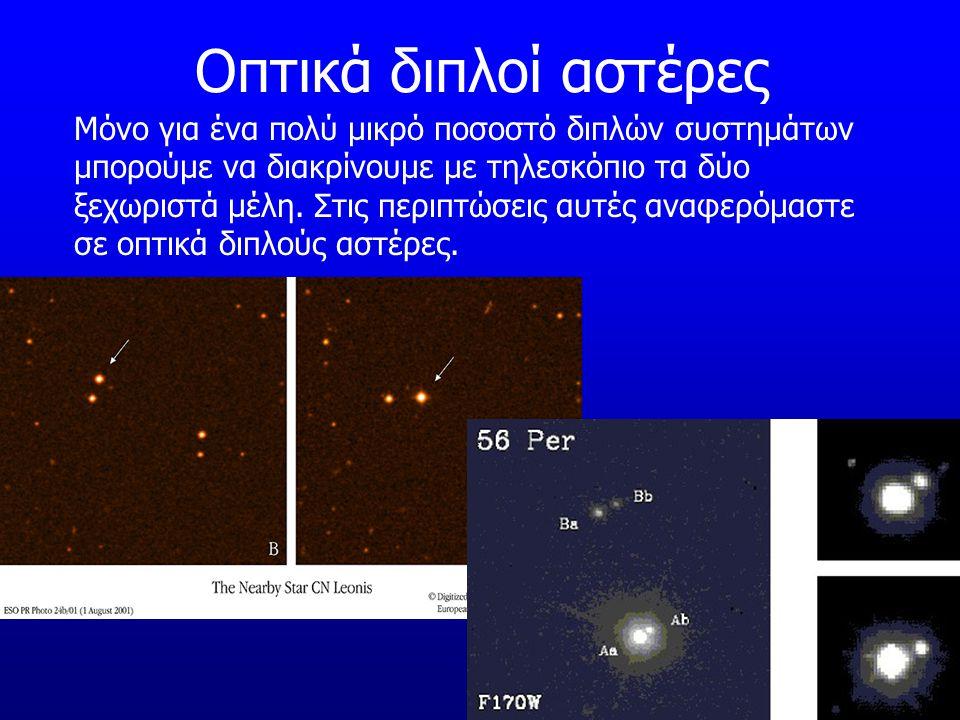 Οπτικά διπλοί αστέρες Μόνο για ένα πολύ μικρό ποσοστό διπλών συστημάτων μπορούμε να διακρίνουμε με τηλεσκόπιο τα δύο ξεχωριστά μέλη. Στις περιπτώσεις