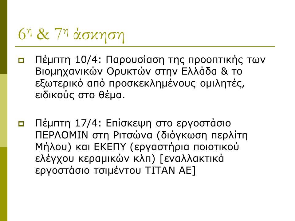 6 η & 7 η άσκηση  Πέμπτη 10/4: Παρουσίαση της προοπτικής των Βιομηχανικών Ορυκτών στην Ελλάδα & το εξωτερικό από προσκεκλημένους ομιλητές, ειδικούς στο θέμα.