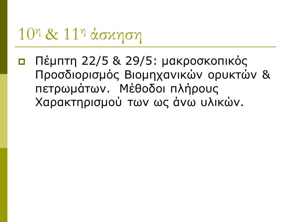 10 η & 11 η άσκηση  Πέμπτη 22/5 & 29/5: μακροσκοπικός Προσδιορισμός Βιομηχανικών ορυκτών & πετρωμάτων. Μέθοδοι πλήρους Χαρακτηρισμού των ως άνω υλικώ