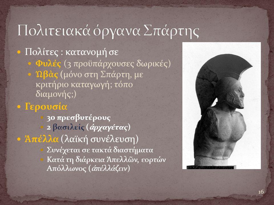 Πολίτες : κατανομή σε Φυλές (3 προϋπάρχουσες δωρικές) Ὠ β ὰ ς (μόνο στη Σπάρτη, με κριτήριο καταγωγή; τόπο διαμονής;) Γερουσία 30 πρεσβυτέρους 2 βασιλείς ( ἀ ρχαγέτας) Ἀ πέλλα (λαϊκή συνέλευση) Συνέχεται σε τακτά διαστήματα Κατά τη διάρκεια Ἀ πελλ ῶ ν, εορτών Απόλλωνος ( ἀ πέλλάζειν) 16