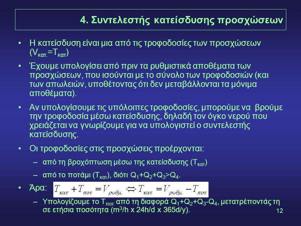 12 4. Συντελεστής κατείσδυσης προσχώσεων Η κατείσδυση είναι μια από τις τροφοδοσίες των προσχώσεων (V κατ. =Τ κατ ) Έχουμε υπολογίσει από πριν τα ρυθμ