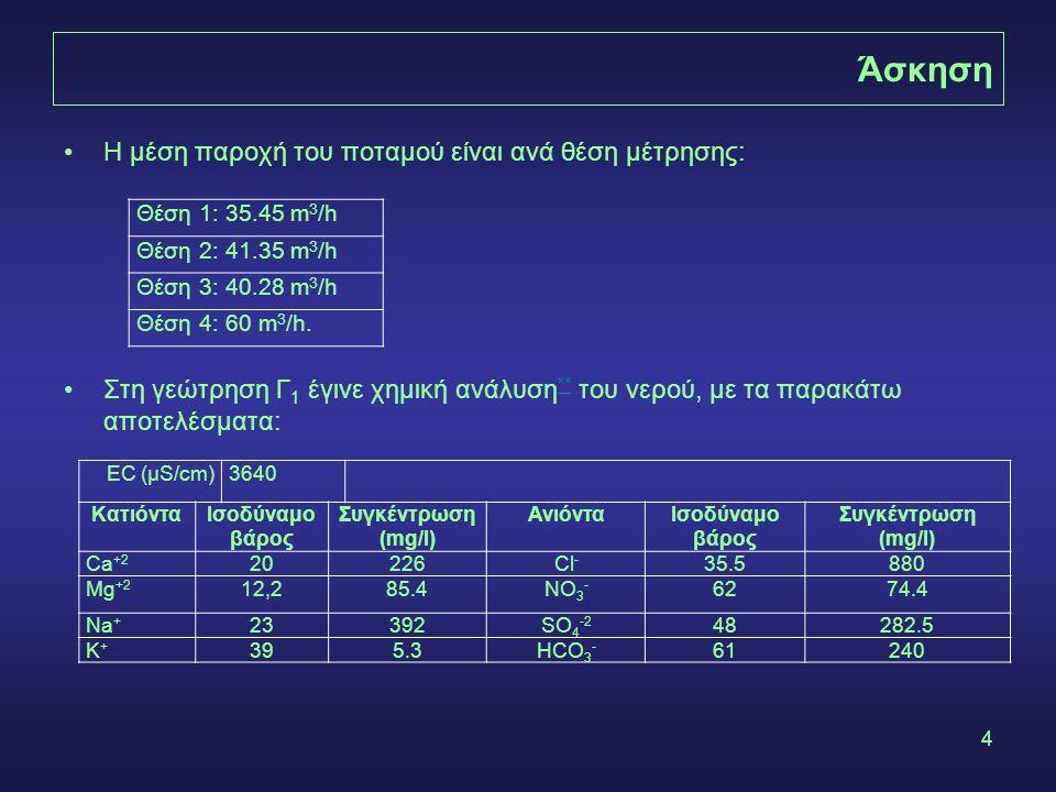 4 Η μέση παροχή του ποταμού είναι ανά θέση μέτρησης: Στη γεώτρηση Γ 1 έγινε χημική ανάλυση ** του νερού, με τα παρακάτω αποτελέσματα: ** Θέση 1: 35.45