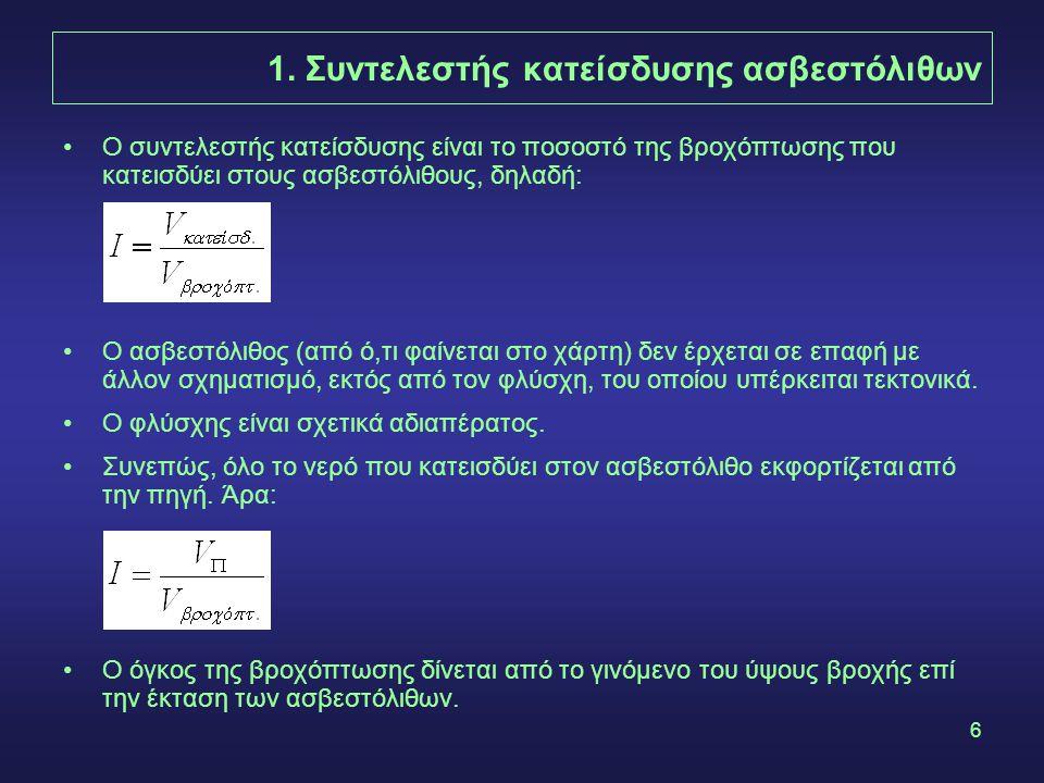 6 1. Συντελεστής κατείσδυσης ασβεστόλιθων Ο συντελεστής κατείσδυσης είναι το ποσοστό της βροχόπτωσης που κατεισδύει στους ασβεστόλιθους, δηλαδή: Ο ασβ