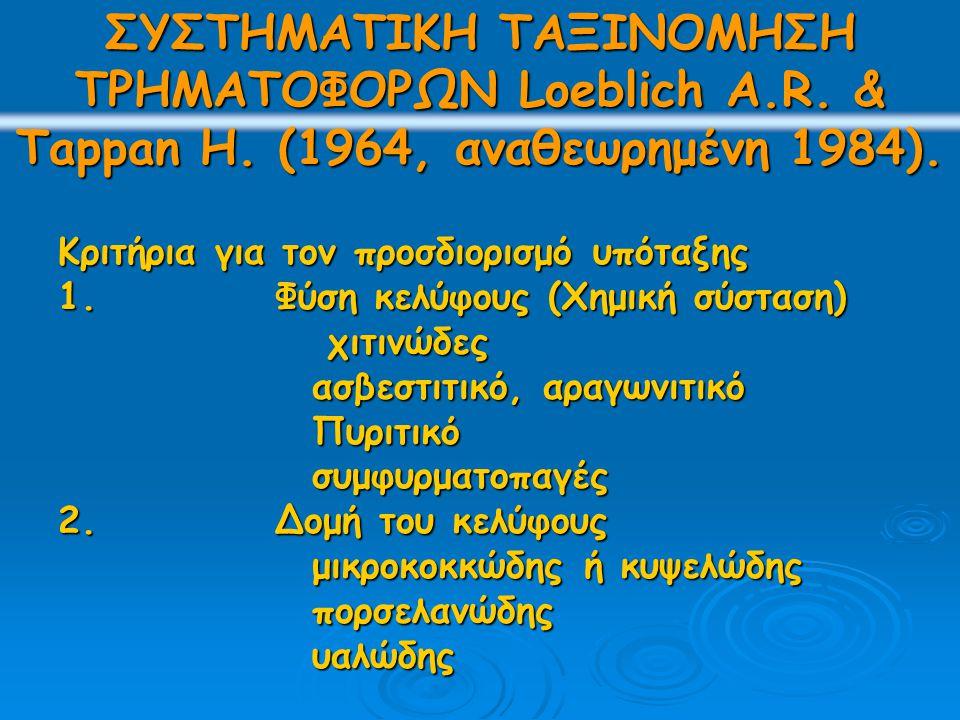 ΣΥΣΤΗΜΑΤΙΚΗ ΤΑΞΙΝΟΜΗΣΗ ΤΡΗΜΑΤΟΦΟΡΩΝ Loeblich A.R. & Tappan H.