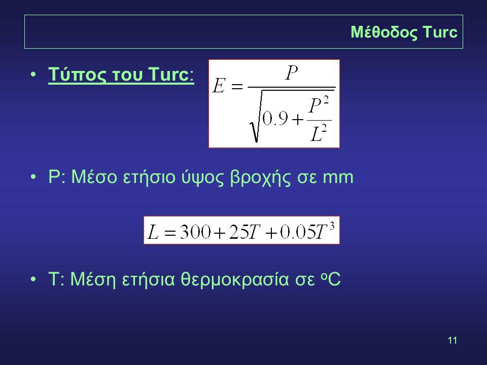 11 Μέθοδος Turc Τύπος του Turc: P: Μέσο ετήσιο ύψος βροχής σε mm T: Μέση ετήσια θερμοκρασία σε o C