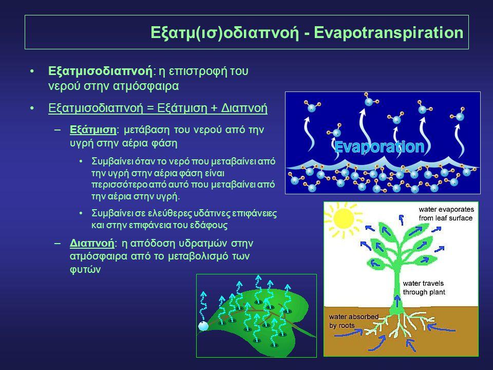 4 Εξατμ(ισ)οδιαπνοή - Evapotranspiration Εξατμισοδιαπνοή: η επιστροφή του νερού στην ατμόσφαιρα Εξατμισοδιαπνοή = Εξάτμιση + Διαπνοή –Εξάτμιση: μετάβαση του νερού από την υγρή στην αέρια φάση Συμβαίνει όταν το νερό που μεταβαίνει από την υγρή στην αέρια φάση είναι περισσότερο από αυτό που μεταβαίνει από την αέρια στην υγρή.