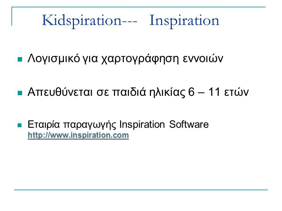 Κidspiration--- Inspiration Λογισμικό για χαρτογράφηση εννοιών Απευθύνεται σε παιδιά ηλικίας 6 – 11 ετών http://www.inspiration.com http://www.inspira