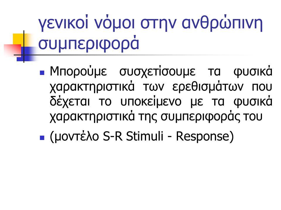 γενικοί νόμοι στην ανθρώπινη συμπεριφορά Μπορούμε συσχετίσουμε τα φυσικά χαρακτηριστικά των ερεθισμάτων που δέχεται το υποκείμενο με τα φυσικά χαρακτηριστικά της συμπεριφοράς του (μοντέλο S-R Stimuli - Response)